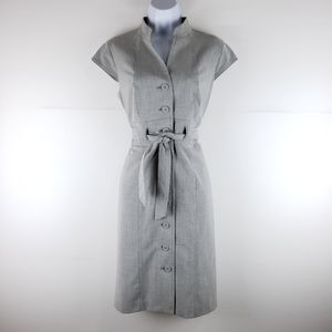 Calvin Klein Button Up Belted Gray Dress Size 8